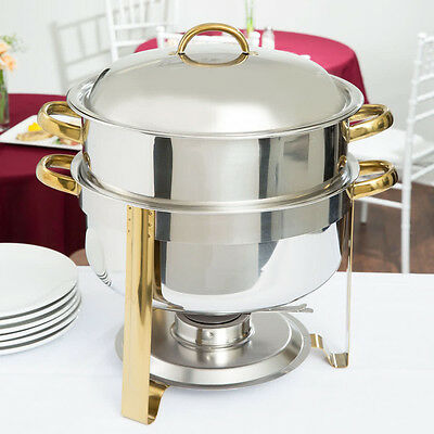 Choice 14 Qt. Deluxe Round Gold Accent Stainless Steel Soup Chafer