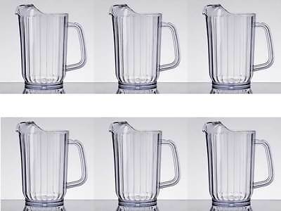 6-Pack Choice 32 oz. Clear Plastic Round Restaurant Beverage Pitchers 69032SAN