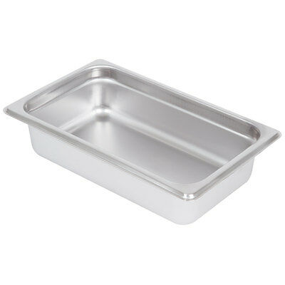 """1/4 Size Standard Weight Stainless Steel Steam Table / Hotel Pan - 2 1/2"""" Deep"""