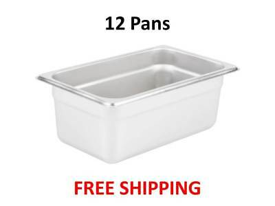 """1/4 Size 3 Quart NSF Silver Stainless Steel Steam Table / Hotel Pan - 4"""" Deep"""