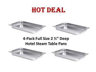 """4 Full Size 2 1/2"""" Deep Stainless Steel Hotel Food Pans for 8 Qt. Chafing Dishes"""