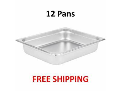 """(12-Pack) 1/2 Size 2 1/2"""" Deep Stainless Steel Steam Table Hotel Food Pans"""