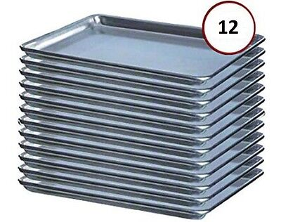 "12-Pack NEW 2/3 Size Residential 19 Gauge Aluminum Bun / Sheet Pan - 16"" x 22"""