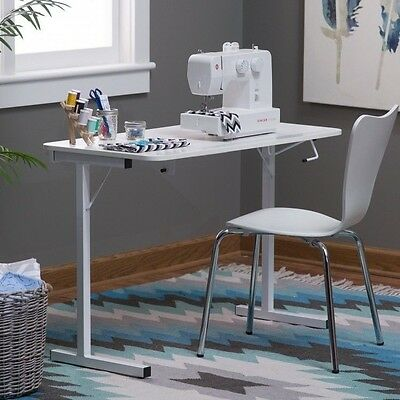 Sewing Machine Table Craft Folding Portable Working Desk White Storage Shelves