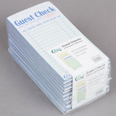 NEW 2 Part Green and White Carbonless Restaurant Guest Checks - 50 Books / Case