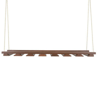 "American Metalcraft GR1435 14"" x 35"" Walnut Bar Wine Glass Hanging Rack"