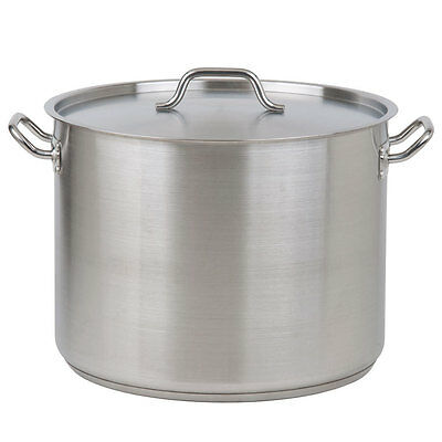 16 Qt. Heavy-Duty Aluminum / Stainless Steel Silver Stock Pot with Lid Cover