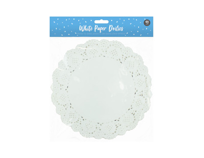 WHITE ROUND PAPER DOILIES 30.5cm x 25.5cm x 0.5 PARTY CELEBRATIONS BIRTHDA