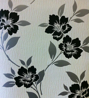 Black Silver White Quality Designer Feature Wallpaper Flower