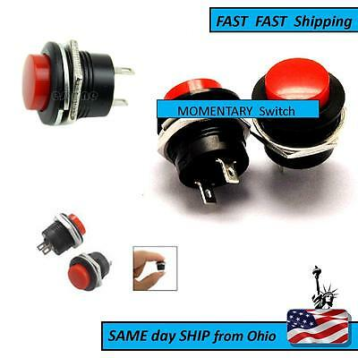 2 Pin SPST 3A 125VAC NO 16mm Hole Momentary Push Button Switch Red