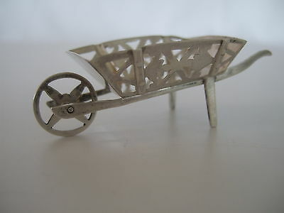 Antique sterling silver miniature WHEELBARROW - Blackensee and Sons Chester 1908