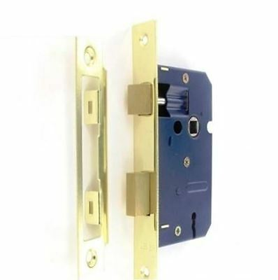 Securit Mortice Door Sash Lock 3 Lever with Polished Chrome and Brass Plates