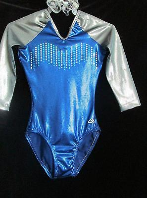 Alpha Factor Gun Metal 3/4  Sequin Gymnastics Leotard Foil ASM
