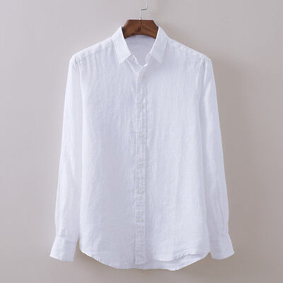 Men's Full Sleeve Linen Casual Shirts Breathable Cotton Shirt Asian Sizes TS159