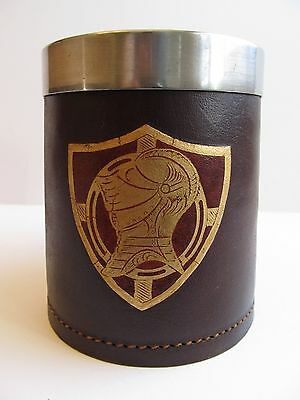 Leather Beer Mug Knight & Crest Removable Metal Insert England