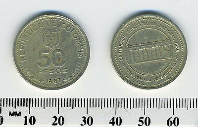 Colombia 1987 - 50 Pesos Copper-Nickel  Coin - National Constitution
