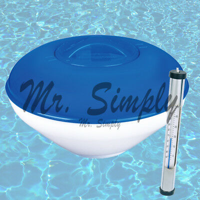 """9"""" Pool Chemical Dispenser Floater Chlorine Tablets Brass Thermometer Folable"""