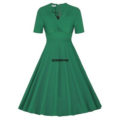 Women Vintage Swing 1950s 60s casual Pinup Office Evening club sundress Dress