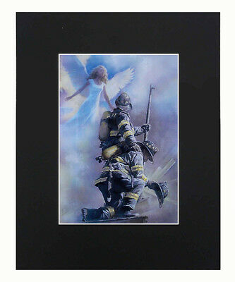 Angel & Firefighter Print of Original Drawing  8x10 matted decor picture gift