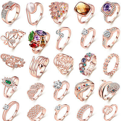 32 Styles Women Men Topaz Gemstone Rose Gold Plated Silver Ring Jewelry Size 6-9
