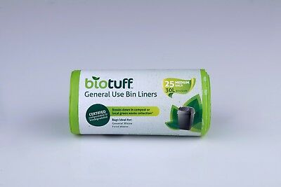 75 x 36 Litre 100 % Biodegradable and Compostable Bin Bag Liners