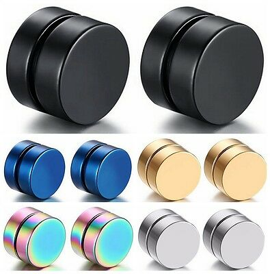 Men 8MM Stainless Steel Magnetic Clip On Ear Stud Earrings No Piercing Cocktail