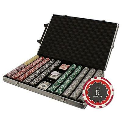 Brybelly 1000-Count Eclipse Poker Chip Set in Rolling Aluminum Case, 14gm, New,