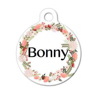 Pet ID Name Tag Colour Floral Wreath Personalised Customised Dog Cat Name Tag