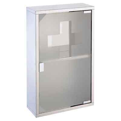 Mileno 30x12x45cm Lockable Medicine Cabinet with Polished Stainless Steel Frame