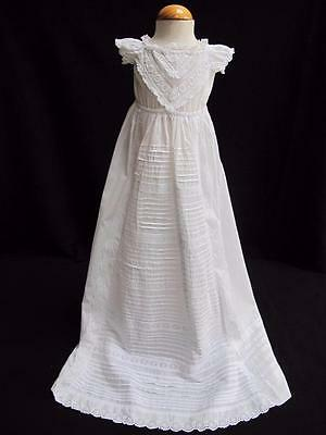 ANTIQUE VICTORIAN EMBROIDERED WHITEWORK CHRISTENING GOWN DRESS c1890