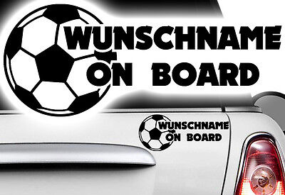 1x Aufkleber WUNSCHNAME ON BOARD Sticker Hangover Baby Tor Kind Fußball Ball