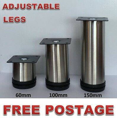 4x Adjustable Furniture Legs Stainless Steel 60-150mm Kitchen Cabinet Couch Sofa
