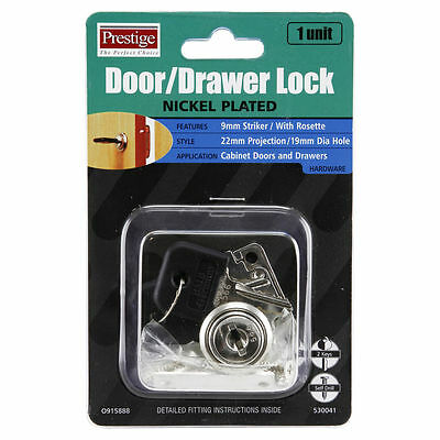 Prestige DOOR/DRAWER LOCK Nickel Plated 2Keys 22mm Projection 8mm or 9mm Striker