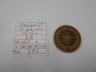 Louis Xviii - 1 Decime Au L - 10 Centimes - 1814 Bb - Old French Coin - Ref15479