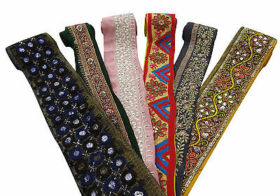 Vintage Indian Style Multicolor Ribbon Wrap Craft Sewing Lace Trim Lot Of 6 PCS