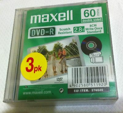 Maxell Camcorder 60 minutes 3 x DVD-R (8cm) 2.8 GB each in jewel case