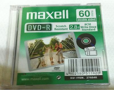 New Maxell Camcorder 60 minutes DVD-R (8cm) 2.8 GB each jewel case
