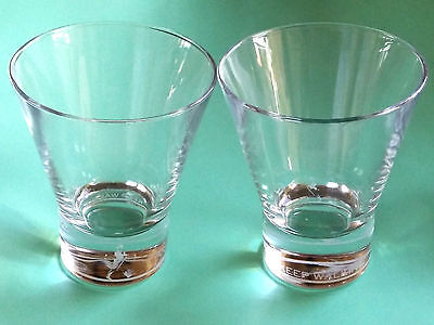 2x Johnnie Walker Whisky Glasses Advertising Rocks Glass Frosted Logo 10.5cm Cyp