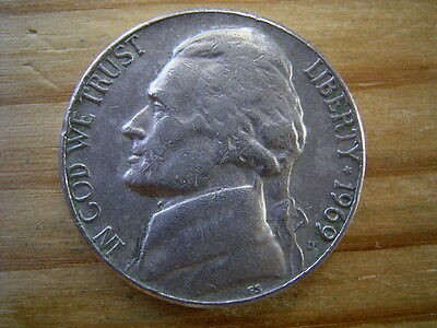 1969d  usa 5 cent  nickel coin collectable