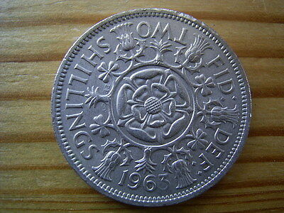 1963   elizabeth 11   2/- shillings-florin  collectable