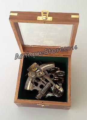 "Nautical Sextant With Wooden Box Brass Vintage Working Marine 4"" Christmas Gift"