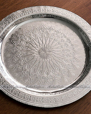 """SMALL Authentic Moroccan Tea Serving Tray - Vintage Decorative Platters  10"""""""