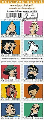 TINTIN and his FRIENDS et ses AMIS KUIFJE TIM 10 TIMBRES STAMPS LIMITED SERIES