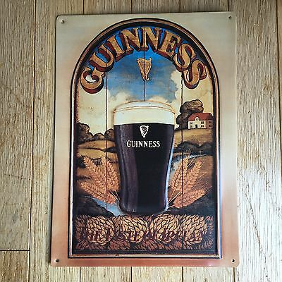 """Guinness Collectible Metal Beer Sign The Taste Of Ireland Embossed 11"""" X 15"""" Vgc"""