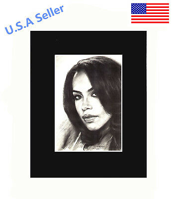 Aaliyah Art Print of Original Drawing 8x10 matted wall decor picture gift