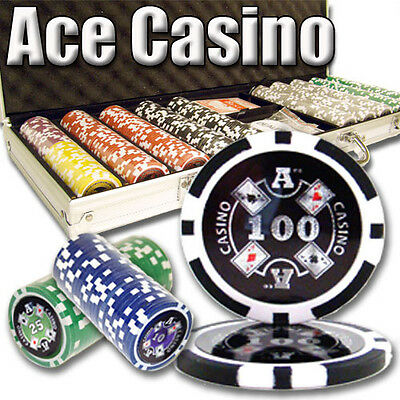 NEW 500 Ace Casino 14 Gram Clay Poker Chips Set with Aluminum Case Heavy Weight