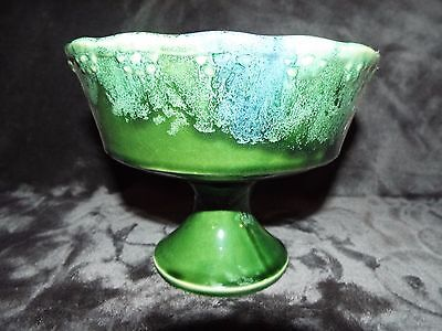 Vintage Mccoy Green/blue/white Footed Flower Pot/jardiniere