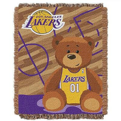 Los Angeles Lakers OFFICIAL NBA Triple Woven Jacquard Throw HALF COURT