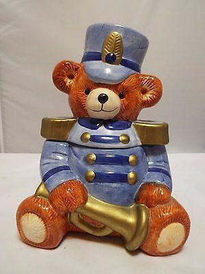 Majorette Teddy Bear Cookie Jar Blue And Gold