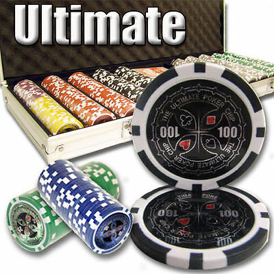 NEW 500 Ultimate 14 Gram Heavy Clay Poker Chips Aluminum Case Set Pre Packaged
